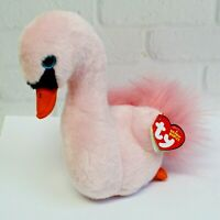 "TY Beanie Baby 7"" Odette Pink Swan Plush Stuffed Animal Toy MWMT Boo"