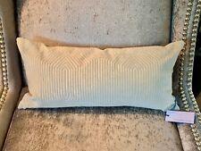 Designers Guild Bolster Pillow Geometric Cotton Velvet NEW 60% OFF RETAIL! Cream