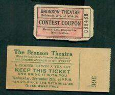 1920's The Bronson Theatre Ticket & Contest Coupon - West Philadelphia,PA
