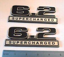 6.2 SUPERCHARGED   Black and Chrome plastic emblem   emblems badge NEW
