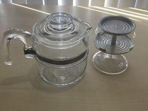 Vintage PYREX FLAMEWARE Clear 4 cup Coffee Pot Percolator 7754-B USA