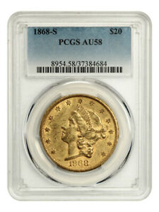 1868-S $20 PCGS AU58 - Scarce Type 2 Liberty - Liberty Double Eagle - Gold Coin