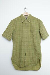 Men's 1970's Pendleton USA Green Wool Plaid Short Sleeved Shirt Size M