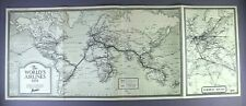 THE WORLD'S AIRLINES VINTAGE 1939 MAP PREWAR FLIGHT ROUTE MAP