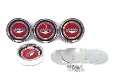 "ANY FORD - Mustang Falcon ""Ford Crest"" Hubcaps RED - Chrome - Ford Licensed!"