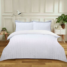 Seersucker Duvet Cover Bedding Set with Pillowcase White Silver Charcoal Color