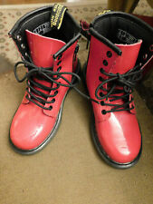 Doc Martens Air Wair Delaney BRIGHT Red Patent Leather Tie zip Boots Sz 13 EUC