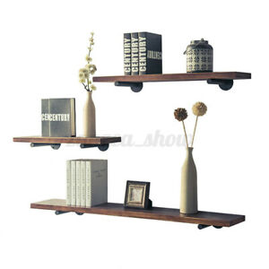 """4 Pack Industrial Black Iron Pipe Shelf Brackets 11"""" Wall Mounted Flang"""