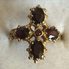 Estilo antiguo oro amarillo macizo 9 CT caracteriza Granate Cruz Anillo Tamaño J1/2 1971