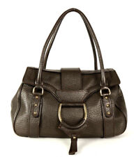 DOLCE & GABBANA Metallic Pewter Pebbled Leather D-Ring Satchel Bag
