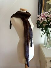 Vintage 1940s Mink Tippet Wrap Stole Pinup Bombshell Triple Pelts 40s Pinup