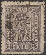 1867-68 Norway stamp used/hinge/town cancel S#13 3 skilling TMM*