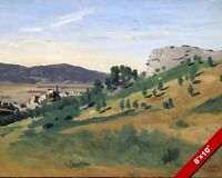 VIEW OF OLEVANO ITALY ITALIAN COUNTRY LANDSCAPE PAINTING ART REAL CANVAS PRINT
