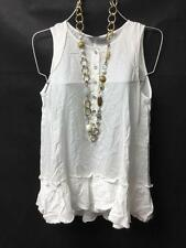 $158 Diesel white sleeveless relaxed ruffle button cleavage t-dora tank top S