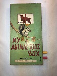 Vtg 1947 MY ANIMAL QUIZ BOX Puzzle Matching Game Original USA Made