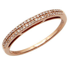 $738 FINE 14K ROSE GOLD .14C PAVE DIAMOND STACK STACKABLE WEDDING BAND RING