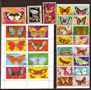 Pr 49 Guinea all The Species Of Butterflies 3 Blocks +3 Stamps Obliterated