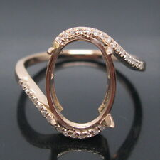SOLID 14K ROSE GOLD NATURAL DIAMOND SETTING SEMI RING ENGAGEMENT MOUNT SR00119