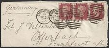 Great Britain covers 1873 1P strip of 3 cover Emsworth