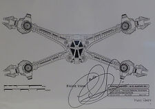 BABYLON 5 : STARFURY FRONT VIEW A3 BLUEPRINT ON CARD SIGNED BY CLAUDIA CHRISTIAN