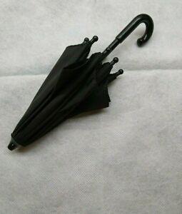 Cute working dolls/teddy bears black umbrella or parasol. 21 cm.