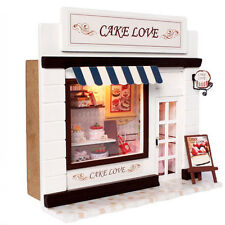 DIY Wooden Dollhouse Cake Love Store Wood Miniature Kit With Voice Control Light