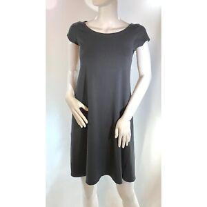 Eileen Fisher Organic Cotton Grey Ballet Neck Cap Sleeve Swing Dress Petite S