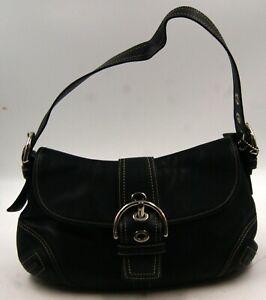 Coach F10192 Handbag Shoulder Bag Soho Flap Satchel Hobo Black Leather