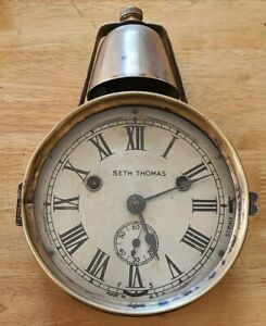 C.1890 Very Rare Seth Thomas Marine Lever Bell Over Yacht Clock ~Working Order~