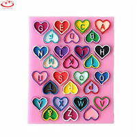 Heart Alphabet Letter Silicone Cake Mold Chocolate Fondant Decorating Mould