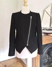 2nd Day Black Asymmetric Zip Detailed Boucle Jacket Size 6/8