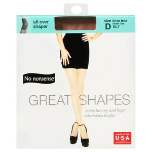 No Nonsense Great Shapes -Sheer Toe Body Shaping Pantyhose, Size D,Beige Mist