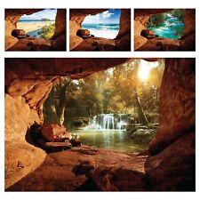 Vlies Fototapete 3D EFFEKT Wasserfall Landschaft Meer Strand Wohnzimmer Höhle