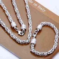 ASAMO Schmuckset Königskette Halskette Armband Silber plattiert Damen Herren