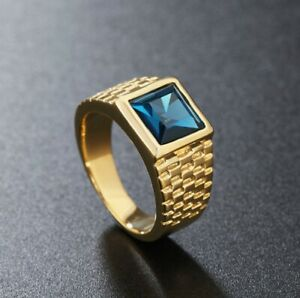 Men Women Domineering Blue Zircon Stone Gold Titanium Steel Ring Size 8-12