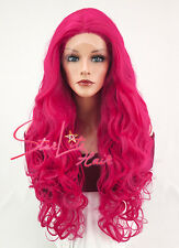 "28"" Long Curly Magenta Lace Front Synthetic Hair Wig Heat Resistant"