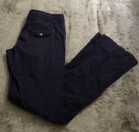Athleta Dark Blue Drawstring Waist Mid Rise Wide Leg Cargo Pants Women's 8 Tall