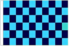 Sky Blue And Navy Blue Check 5' x 3' Large Sleeved Flag