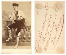 De Lavieter, La Haye Un acteur prend la pose CDV vintage albumen carte de visite