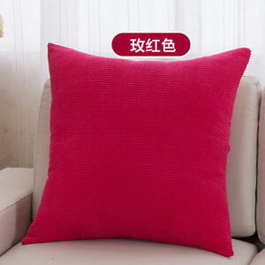Fashion Velvet Solid Color Plaid Throw Pillow Case Home Office Cushion Cover