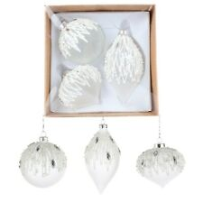 Christmas Tree Decorations - Luxury Frosted Glass Baubles - Box of 3