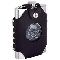 FLASK 8oz SKULL Black Faux Leather Belt Loop Holder Stainless Steel Biker Liquor