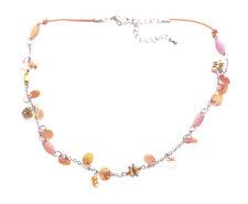 Exuberant & Oplulent Round  Coral Charm Chain & Adjustable Hook Necklace.(Zx94)
