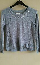 Women's Hollister Embellished bling Knit Top gray Size Medium
