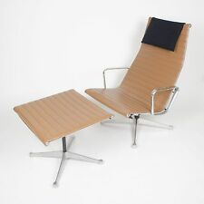 Rare Vintage Eames Herman Miller Aluminum Group Lounge Chair with Ottoman Tan