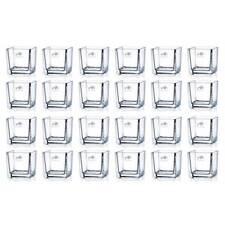 24er SET Teelichtgläser, Windlichter CUBE H. 8cm  8x8cm Glas eckig Sandra Rich