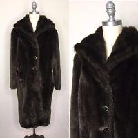 Vintage 60s Brown Faux Mink Fur Coat Size Large