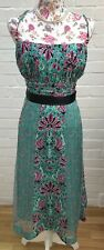 Monsoon Silk Dress Size 18 Green Floral Wedding Occasion Summer Gown Party