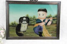 Chinese EGLOMISE Reverse glass painting child pekinese dog
