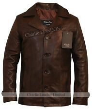 Mens Heist Antique Vintage Brown Leather Jacket - Charlie LONDON